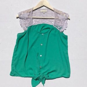 My Michelle Green Tie Front Top W/ Lace Sleeves